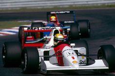 mclaren-1992-senna-hockenheim-01   Ayrton Senna (BR), Honda Marlboro Mclaren MP4/7A, leads Mauricio Gugelmin (BR), Sasol Jordan Yamaha 192.  German Grand Prix, 26/07/1992, Hockenheim, Germany.