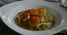 Seared Scallops with Saffron Sauce and Zucchini Noodles (AIP, SCD, Paleo)