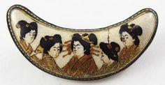 19th Century Meiji Japanese Satsuma Pottery Enamel Brooch