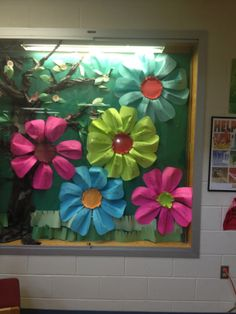 Front display case at school - petal for each teacher.