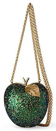 Anya Hindmarch Apple Glitter Clutch Behold the new  Anya Hindmarch Apple Glitter Clutch bag, a resplendently opulently frame box clutch embellished with glitter, in the shape of an apple, with gold...