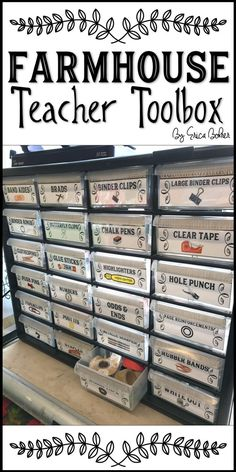 Farmhouse Teacher Toolbox - Stay organized with this teacher toolbox. It is perfect for your farmhouse style classroom. Classroom Decor Farmhouse Teacher Toolbox - Stay organized with this teacher toolbox. It is perfect for your farmhouse style classroom. Teacher Toolbox Labels, Teachers Toolbox, Teacher Organization, Organized Teacher, Teacher Stuff, Teacher Binder, Teacher Supplies, Organizing Ideas, Classroom Setup