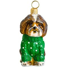 Joy to the World Brown & White Shih Tzu in Green Sweater Ornament found on Polyvore