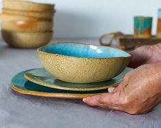 #homeliving #kitchendining #diningserving #dinnerware #modern #rustic #handmade #dinnerware #set #tableware #dishware #pottery #ceramics #organic #stoneware #unique #farmhouse Rustic Dinnerware, Stoneware Dinnerware Sets, Blue Dinnerware Sets, Modern Dinnerware, Pottery Plates, Ceramic Plates, Ceramic Pottery, Ceramic Dinner Set, Handmade Pottery