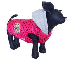 Manteau pour chien impermeable rose avec capuche et pois noir