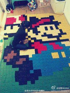 Super Mario blanket make of crocheted squares