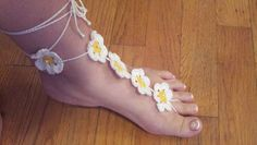 'Daisy May' Barefoot Sandals  White w/ yellow centers and pearl beading. Taking orders if you would like a pair of my Designer Barefoot Sandals copyright protected...but I hope i have inspired you to create your own designs! :)