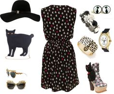 """Cat lady"" by carolwatergirl on Polyvore"