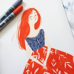Lady in Red by @taryndraws #illustration #art