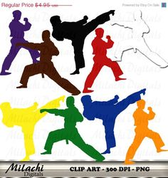 80% OFF SALE Karate Clipart Digital Clip Art  by MilachiDigitals