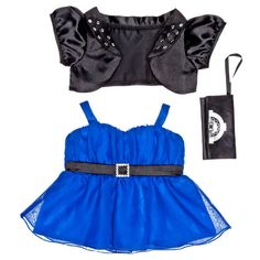 Victoria Justice 4 BABW Blue Chiffon Dress with Satin Jacket Purse 3... ❤ liked on Polyvore featuring dresses, blue sequin dress, blue chiffon dress, chiffon dresses, blue dress and sequin dresses