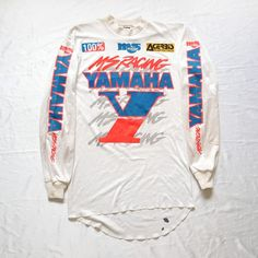 Vintage 80s YAMAHA MS Racing Malcolm Smith MSR Motocross Jersey Motorcycle Dirt Bike  Vintage late 70s or early 80s malcolm smith Yamaha motocross jersey. printed front and sleeves. rib knit collar and cuffs. padded elbow reinforcement.   Condition: Vintage used condition with no rips no holes, It has dirt and oil stains. A lot of stain on the back. (see pics)  http://www.ebay.com/itm/152063607870  #YAMAHA #Vintage #80s #70s #MSRacing #MalcolmSmith #MSR #MotoCross #Jersey #Motorcycle…