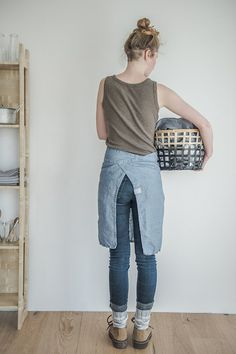 Linen apron. Washed swedish blue natural eco by notPERFECTLINEN
