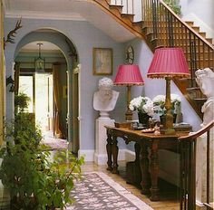 Minus the pink lampshades I like this entryway. Beautiful Interiors, Beautiful Homes, Morrison Homes, English Country Manor, Pink Home Decor, Interior Decorating, Interior Design, Entry Foyer, Country Style Homes