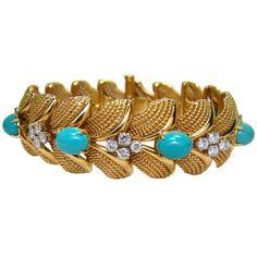 Bulgari circa 1950 18K Yellow Gold, Turquoise & Diamond Bracelet