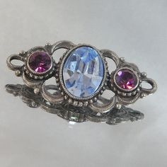 Vintage Bar Brooch Pin Blue Topaz and Purple Amethyst Rhinestones
