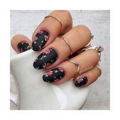 Matte floral gel nails idea ❤ liked on Polyvore featuring beauty products