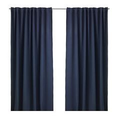 IKEA - WERNA, Verduisteringsgordijnen, 1 paar, , Het gordijn kan direct door de blinde lussen aan een gordijnroede worden gehangen, maar je kan ook ringen en haken gebruiken.
