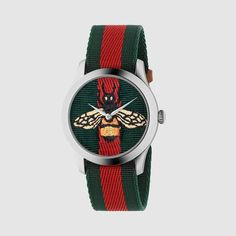 New Gucci G-Timeless Fabric Dial Nylon Strap Unisex Watch Gucci Watches For Men, Mens Designer Watches, Mens Watches Leather, Leather Men, Trendy Watches, Fashion Watches, Rolex Watches, Gucci Gifts, Jewelry Stores