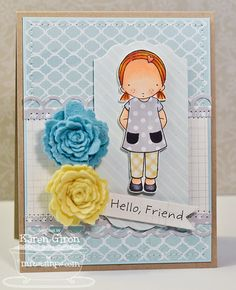 New stamp set by MFT called Pure Innocence Freckles. Card by Karen Giron