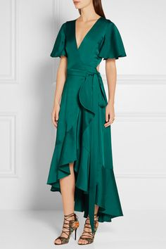 Emerald duchesse-satin Ties at side 57% acetate, 26% nylon, 17% silk; lining: 100% silk Dry clean