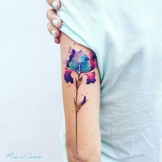 Watercolor botanical tattoo