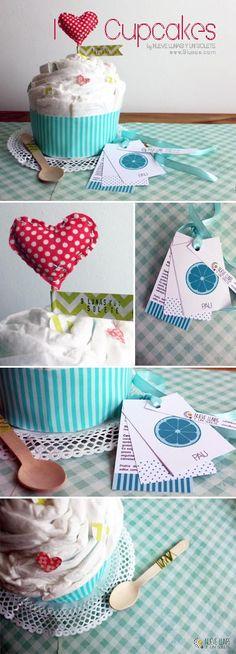 Cupcake de pañales.  Más información www.9lunas.com www.nuevelunasyunsolete.blogspot.com.es/