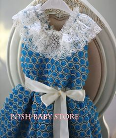 Vintage Blue Sunshine Ribbon Lace Girls Dress
