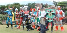 70s tokusatsu characters live appearence in Hawaii 2003..from left to right in order: Inazuman, Kikaida, Kikaida 01, Waruda, Bijinda, Kamen Rider V3, actor Ikeda Shunske, TV fly (villian), Zaboga..Hakaida (villian) and Destron minion in front