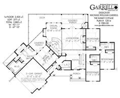 Nunley Cottage House Plan 12014, 1st Floor Plan, Craftsman Style House Plans, Mountain House Plans, Rustic House Plans