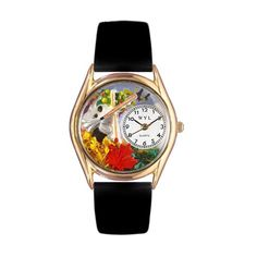 Autumn Leaves Black Leather And Goldtone Watch