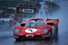 Chris Amon in a works 512S, 1970 Brands Hatch 1000 km. It rained for all of the six-hour race.