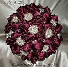 maroon Bridal Brooch Bouquet   Custom Made Bridal Brooch Bouquet Wedding wedding decor   top view
