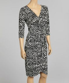 Look what I found on #zulily! Black & White Ruched Surplice Dress by London Times #zulilyfinds