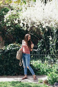 Simple spring layering tee paired with classic mom jeans make for the best momiform for spring.