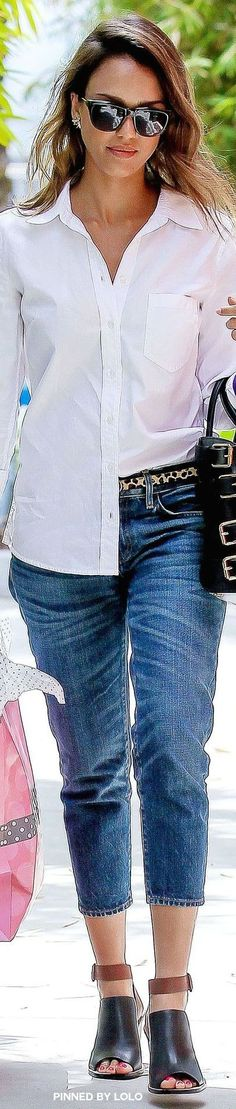 Jessica Alba - Looking gorgeous in jeans and half tucked white shirt.
