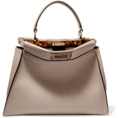 Fendi Peekaboo medium leather tote ($4,100) ❤ liked on Polyvore featuring bags, handbags, tote bags, beige, genuine leather tote, handbags totes, leather tote purse, leather handbag tote and brown tote