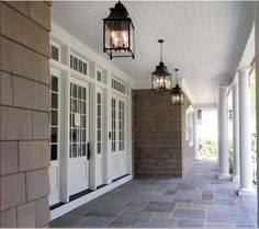 Marianne Simon Design - inspiration - Dream Home Shingle Siding, House Siding, Outdoor Spaces, Outdoor Living, Outdoor Decor, Outside Room, Building A Porch, House With Porch, Porch Lighting