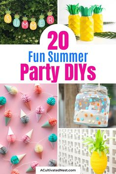 20 Fun Summer Party DIYs- Make your summer parties extra festive with these 20 easy summer party DIYs! They're the perfect way to have a fun summer party on a budget! | #summerDIY #partyDIY #diy #summerCrafts #ACultivatedNest