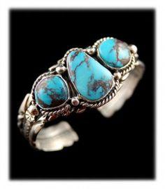 American Indian Handmade Bisbee Turquoise Bracelet - made in Durango Colorado USA