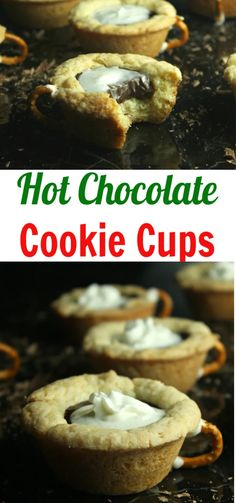 Fair warning these delightful bites of chocolate chip cookie mixed with more chocolate-y goodness to create these hot chocolate cookie cups is addicting! Chocolate Chip Cookie Mix, Hot Chocolate Cookies, Homemade Hot Chocolate, Chocolate Recipes, Easy Cookie Recipes, Fudge Recipes, Dessert Recipes, Dessert Bars, Easy Recipes