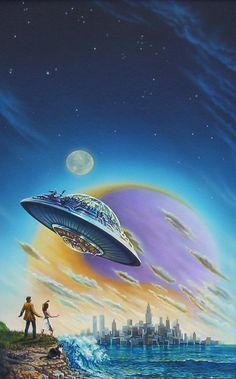 70s Sci-Fi Art: People looking up at flying saucers. By Bruce...
