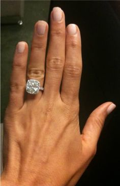 My engagement ring ~ custom made cushion cut halo ~ 4.5 total carats holy cow thats huge!! And yes I know Kyla… i dare to dream big lol ;) | followpics.co