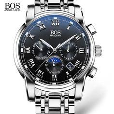 ANGELA BOS Sub Dial Work Waterproof Luminous Mens Watches Top Brand Luxury 2016 Men's Watches Quartz-watch Wrist Watches For Men
