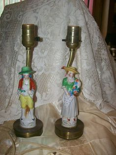 Porcelain Victorian Woman/Man Figurine Style Dresser Lamps 12 1/2 Inch Post-1940 #Victorian #unknown