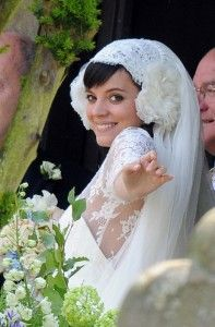 Lily Allen in Chanel  I realize it's not the dress or veil I like so much as the look on her face - beautiful!