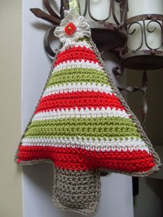 Crochet Christmas Decoration tree striped in by ParchmentandPurl, £10.00