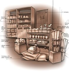 Interior concepts for Great Harvest Bread Co by Nikolay Komarov, via Behance