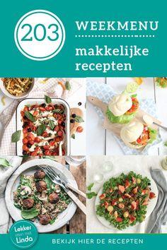 Een nieuw weekmenu, voor een nieuwe week! In deze eetplanning zalige Italiaanse kipfilet uit de oven, een warm gerookte zalm salade, krokante kipburgers en een wokschotel met bloemkoolrijst. Bekijk de weekmenu recepten op mijn blog Lekker eten met Linda. Tortilla Chips, Beef, Om, Salad, Meat, Steak, Chips