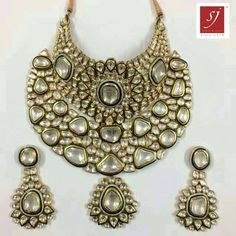 # indian polki jewellery Uncut diamond with Semi Parsec Stone Jewelry Shop, Jewelry Stores, Jewelry Accessories, Fine Jewelry, Jewelry Design, Fashion Jewelry, Bridal Necklace Set, Wedding Jewelry, Talwar Jewellers